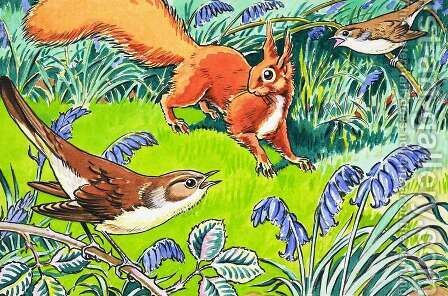 Little Red Squirrel 9 by Harry M. Pettit - Reproduction Oil Painting