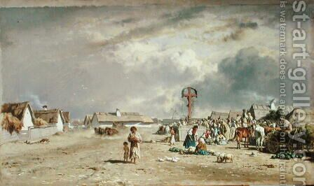 The Market at Szolnol, Hungary by August Xaver Karl von Pettenkofen - Reproduction Oil Painting