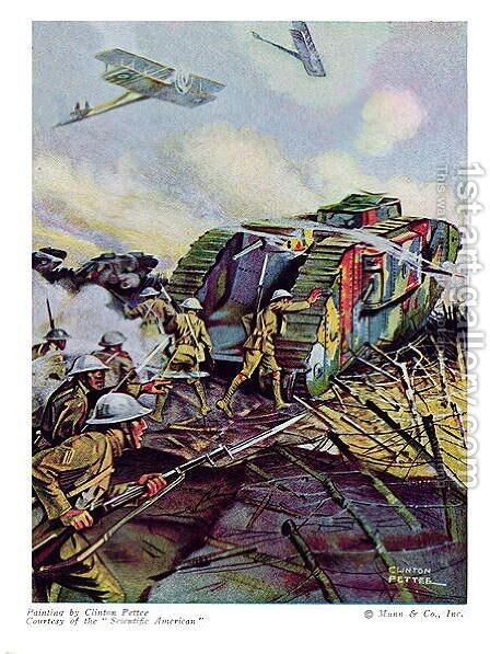 A Tank Attack by Clinton Pettee - Reproduction Oil Painting