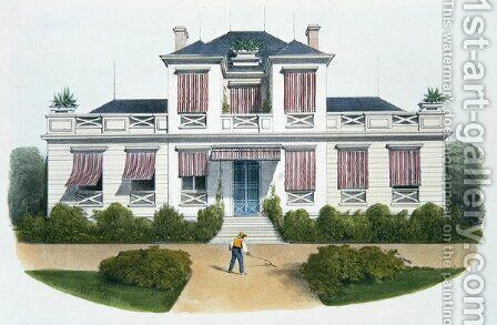 An Italian villa, illustration from Habitations Champetres published Paris, c.1895 by (after) Petit, Victor Jean-Baptiste - Reproduction Oil Painting
