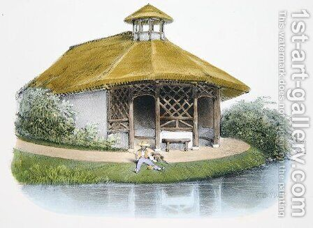 Rustic pavilion, illustration from Habitations Champetres published Paris, c.1895 by (after) Petit, Victor Jean-Baptiste - Reproduction Oil Painting