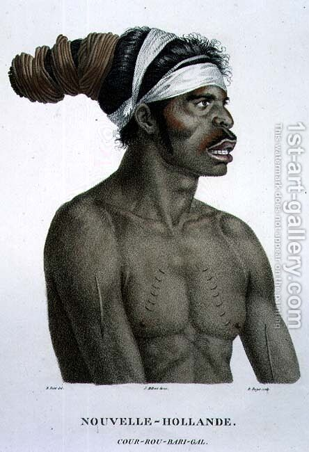 Cour-Rou-Bari-Gal, a native of New Holland, plate 18 from Voyage of Discovery to Australian Lands, engraved by B. Roger, pub. 1800-04 by (after) Petit, N. - Reproduction Oil Painting