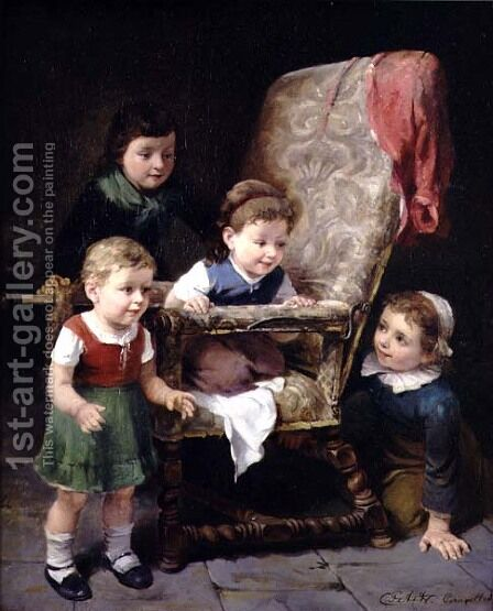 Children playing round a chair by Charles Petit - Reproduction Oil Painting