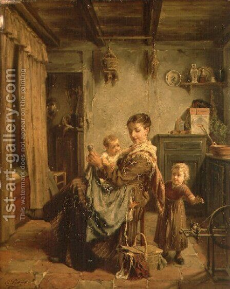 Cache-Cache, an interior with mother and child by Charles Petit - Reproduction Oil Painting