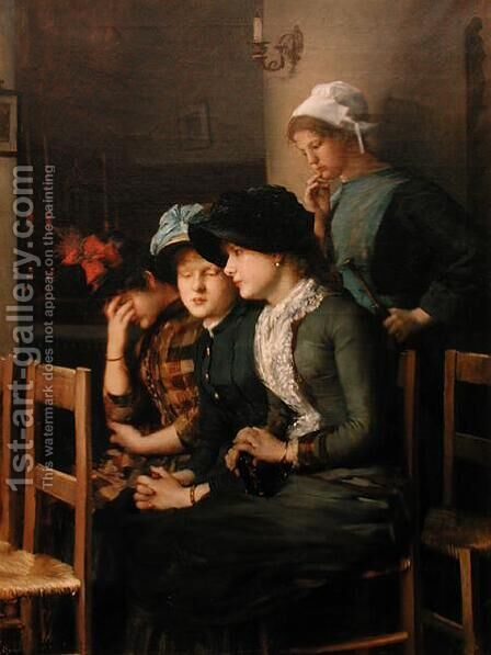 Young girls at church by Marie, Mrs Dujardin-Beaumetz Petiet - Reproduction Oil Painting