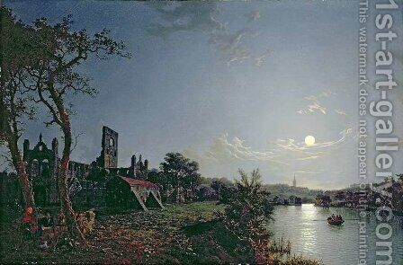 Morning with a View of Kirkstall Abbey by Henry Pether - Reproduction Oil Painting