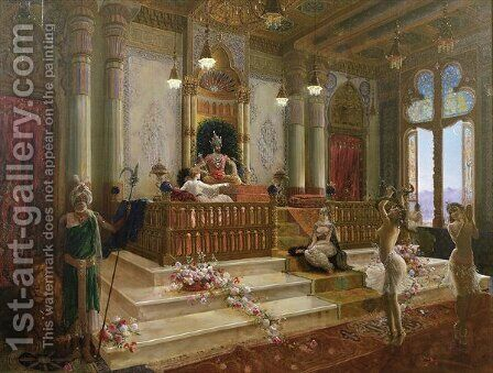 The Maharajahs Favourite, c.1870 by Charles Albert Pesnelle - Reproduction Oil Painting