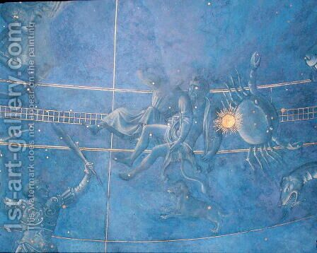 The Path of the Sun through the stars on the night of the 4th July 1442, detail of Gemini and Cancer, from the soffit above the altar, c.1430 by Giuliano dArrighi Pesello - Reproduction Oil Painting