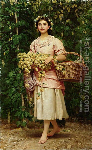 The Hop Picker 2 by Charles E. Perugini - Reproduction Oil Painting