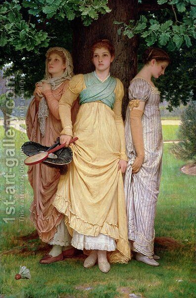 A Summer Shower, 1888 by Charles E. Perugini - Reproduction Oil Painting