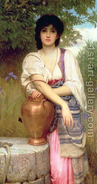 At the Well by Charles E. Perugini - Reproduction Oil Painting