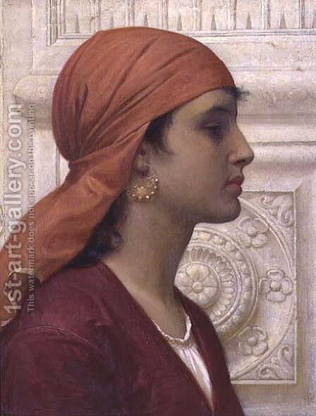 A Capri Girl by Charles E. Perugini - Reproduction Oil Painting