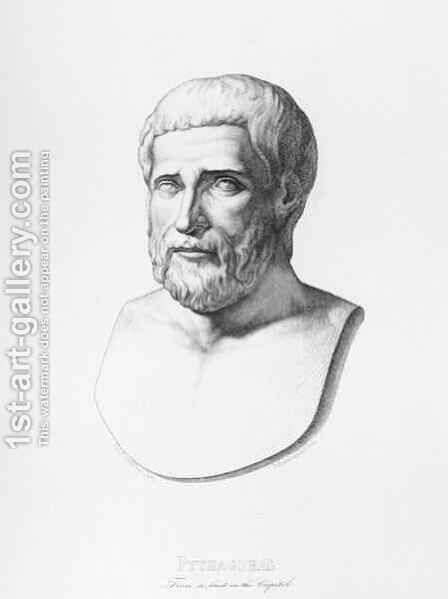 Portrait of Pythagoras c.580-500 BC engraved by B.Barloccini, 1849 by (after) Perkins, C.C - Reproduction Oil Painting