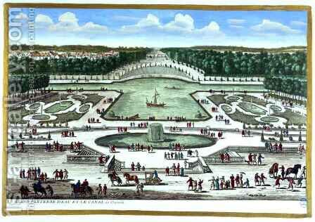 The Grand Parterre dEau and the Canal, Chantilly, from Vues des belles maisons de France, published 1680 by Adam Perelle - Reproduction Oil Painting