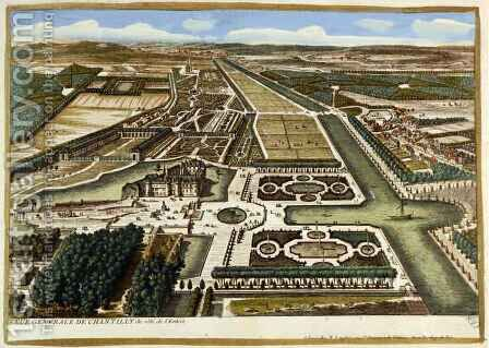 General View of Chantilly, from Vues des belles maisons de France, published 1680 by Adam Perelle - Reproduction Oil Painting