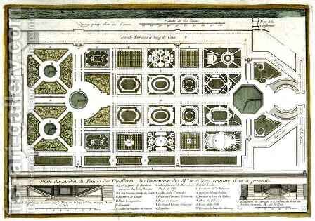Plan of the Garden of the Palais des Tuilleries, from Vues des belles maisons de France, published 1680 by Adam Perelle - Reproduction Oil Painting