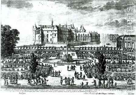 The Chateau de Chantilly and the gardens designed by Andre le Notre 1613-1700 by Adam Perelle - Reproduction Oil Painting