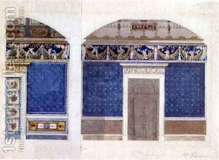 Design for an Empire palace interior, c.1810 by Charles Percier - Reproduction Oil Painting