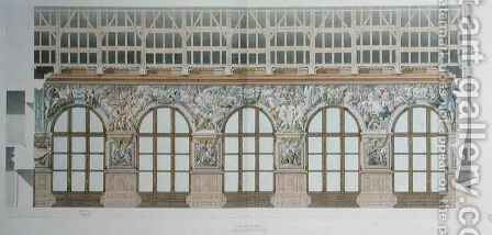 Ms 1014 Elevation of the ballroom at Fontainebleau, plate from an album 2 by Charles Percier - Reproduction Oil Painting