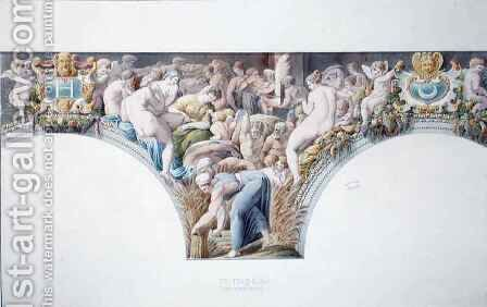 Ms 1014 Frieze from the ballroom at Fontainebleau, plate from an album by Charles Percier - Reproduction Oil Painting