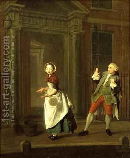 A Scene from Description Of A City Shower by Jonathan Swift 1667-1745 by Edward Penny - Reproduction Oil Painting