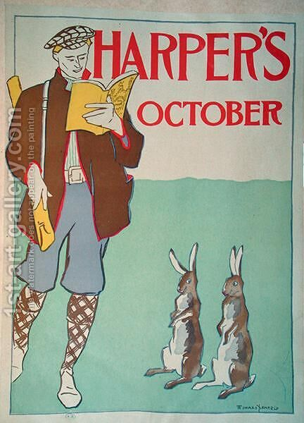 Poster advertising Harpers Magazine, October 1895 by Edward Penfield - Reproduction Oil Painting