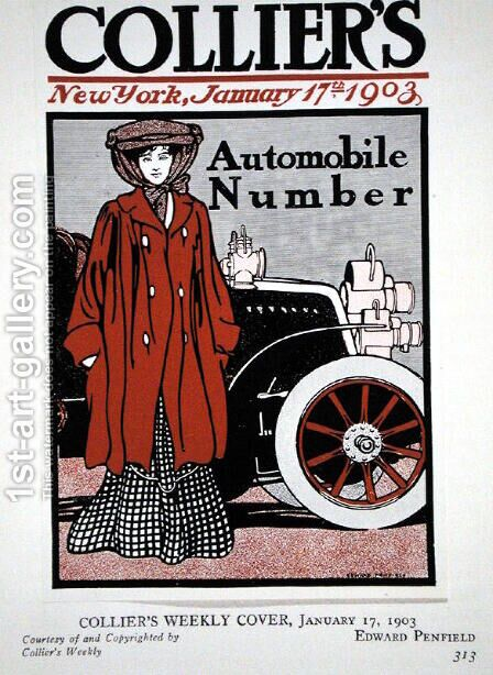 Cover illustration for the Automobile Number, Colliers Magazine, January 17th 1903 by Edward Penfield - Reproduction Oil Painting