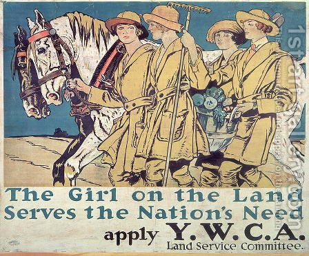 The Girl on the Land Serves the Nations Need, World War I YWCA poster by Edward Penfield - Reproduction Oil Painting
