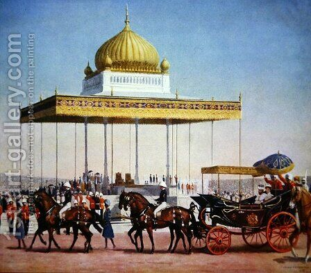King George V at the Delhi Durbar, 1911 by (after) Pemberton, John L. - Reproduction Oil Painting