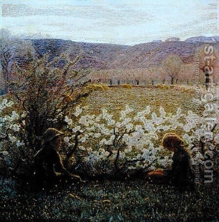 Field in Bloom by Giuseppe Pellizza da Volpedo - Reproduction Oil Painting