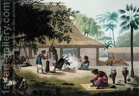 Domestic Activities, Coupang, Timor, from Voyage Autour du Monde sur les Corvettes de LUranie 1817-20, engraved by Forget, published 1825 by (after) Pellion, Alphonse - Reproduction Oil Painting