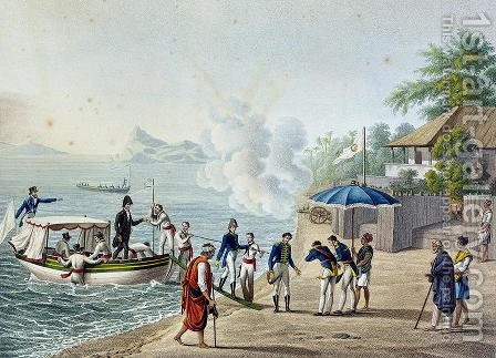 View of Our First Landing at the Portuguese Establishment at Dille, Timor, from Voyage Autour du Monde sur les Corvettes de LUranie 1817-20 engraved by Lerouge and Forget, published 1825 by (after) Pellion, Alphonse - Reproduction Oil Painting