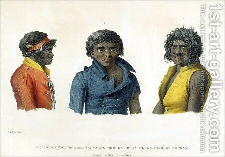 Port Jackson, New Holland Natives from the River Nepean Region, from Voyage Autour du Monde sur les Corvettes de LUranie 1817-20 engraved by Forget, published 1825 by (after) Pellion, Alphonse - Reproduction Oil Painting