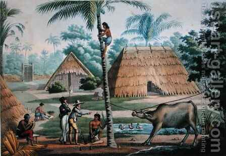 View of the Surroundings of Coupang, Timor, from Voyage Autour du Monde sur les Corvettes de LUranie 1817-20 engraved by Pomel, published 1825 by (after) Pellion, Alphonse - Reproduction Oil Painting