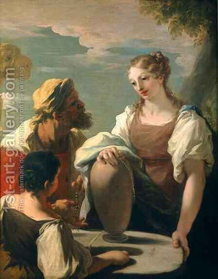 Rebecca at the Well by Giovanni Antonio Pellegrini - Reproduction Oil Painting