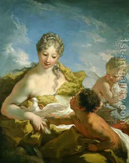 Venus and Cupid by Giovanni Antonio Pellegrini - Reproduction Oil Painting