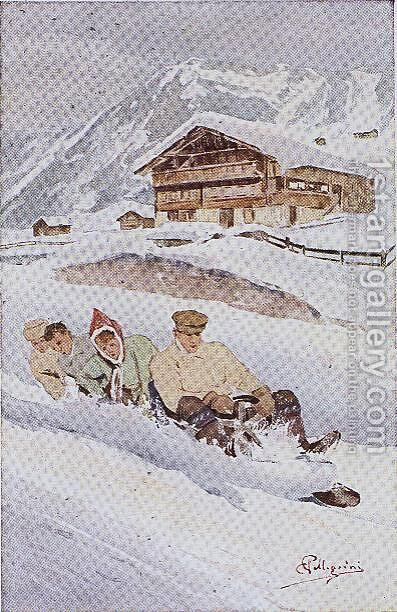 The Four-man Toboggan by Carlo Pellegrini - Reproduction Oil Painting