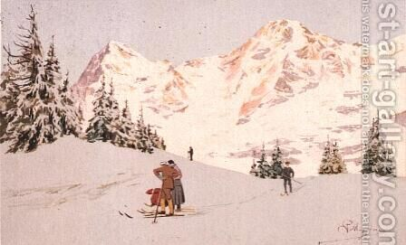 Snowscene at Wengen by Carlo Pellegrini - Reproduction Oil Painting
