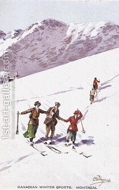 Canadian Winter Sports, Montreal by Carlo Pellegrini - Reproduction Oil Painting