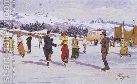 Skaters on the Ice Rink by Carlo Pellegrini - Reproduction Oil Painting