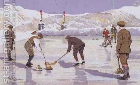 The Curling Rink by Carlo Pellegrini - Reproduction Oil Painting