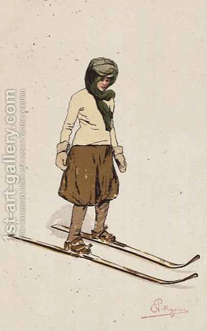 Woman skiing by Carlo Pellegrini - Reproduction Oil Painting