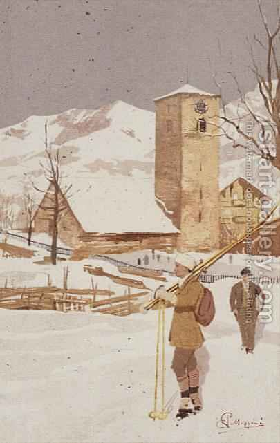 A view of Adelboden, Switzerland by Carlo Pellegrini - Reproduction Oil Painting