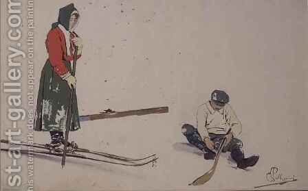 Securing his skis by Carlo Pellegrini - Reproduction Oil Painting
