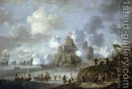 Mediterranean Castle under Siege from the Turks by Jan Peeters - Reproduction Oil Painting