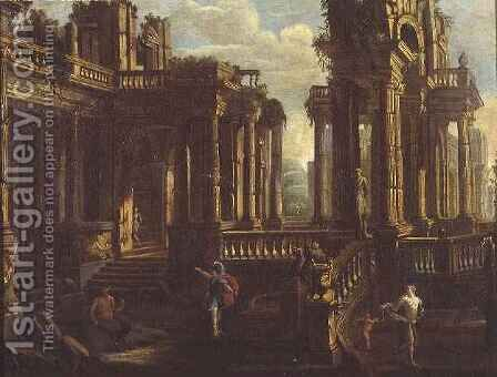 A capriccio of classical ruins with a warrior, a satyr and Cupid chasing a nymph by Jan Peeters - Reproduction Oil Painting