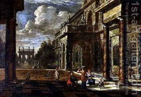 Musicians outside Renaissance Palaces by Jacob Balthasar Peeters - Reproduction Oil Painting