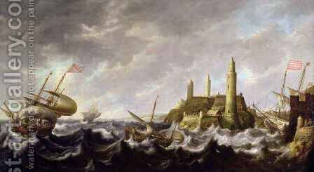 Seascape with a Lighthouse by Bonaventura, the Elder Peeters - Reproduction Oil Painting