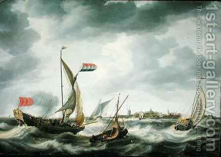 Ships at Sea by Bonaventura, the Elder Peeters - Reproduction Oil Painting