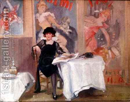 Lady at a Cafe table by Harry J. Pearson - Reproduction Oil Painting